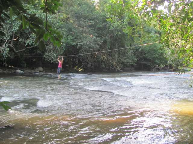 cable crossing khao yai national park thailand