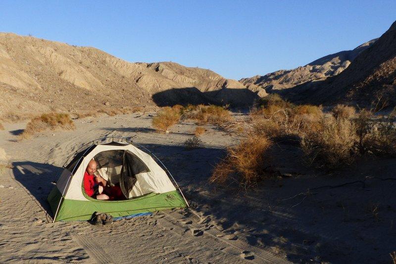 Matt Dagrosa camping in Anza-Borrego State Park