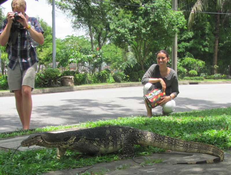 rose hakim with water monitor in bangkok thailand